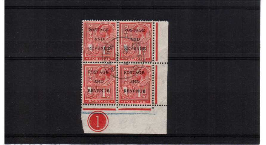 superb fine used SE corner block of four showing the lower marginal plate number. pretty.