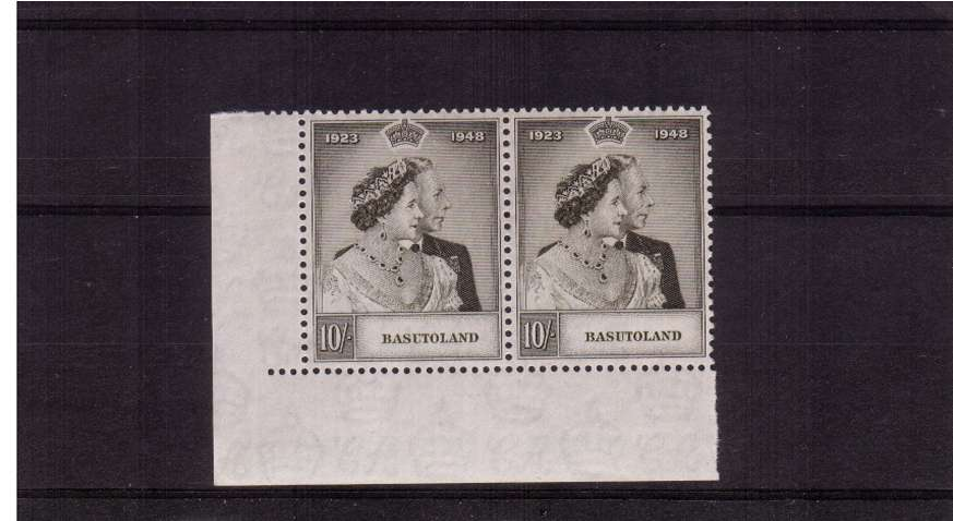 Silver Wedding 10/- value in a superb unmounted mint SW corner pair