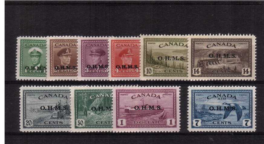 The Official set of ten overprinted O.H.M.S. that includes the 7c Airmail single superb unmounted mint. Scarce set!
