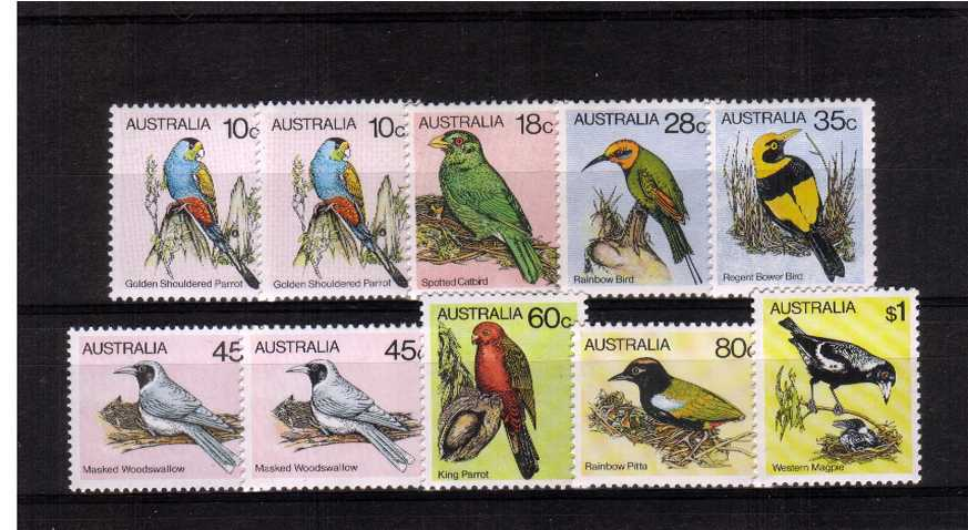 Birds A superb unmounted mint set of eight plus the two peforation changes.