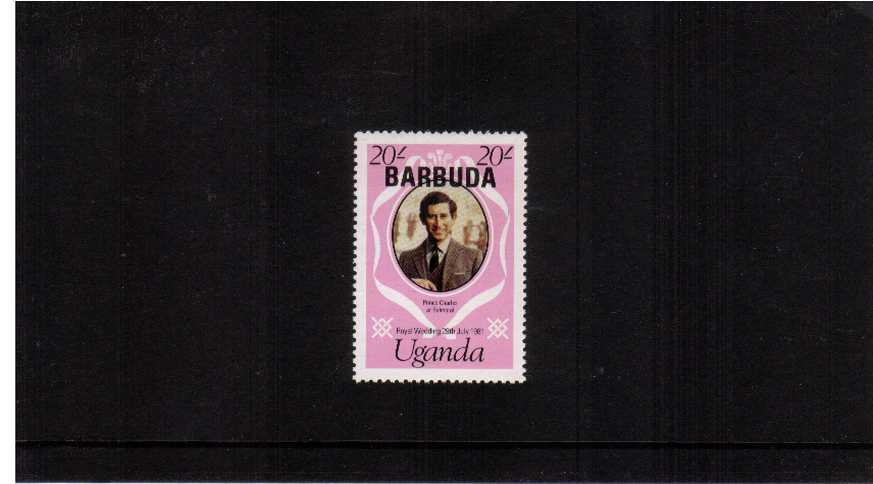 Royal Wedding - 2nd Issue<br/>The $4 stamp overprinted BARBUDA on the unissued 20s of UGANDA superb unmounted mint.