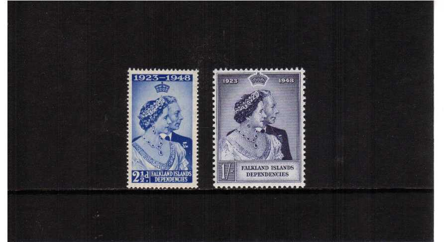 The 1948 Royal Silver Wedding set of two lightly mounted mint.<br/><b>SEARCH CODE: 1948RSW</b>