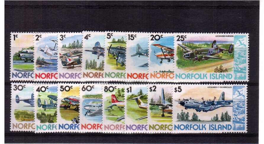 Aircraft - superb unmounted mint set of sixteen.