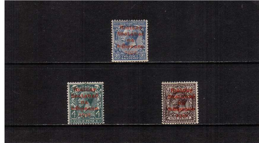 The ''DOLLARD'' set of three with RED overprint lightly mounted mint.