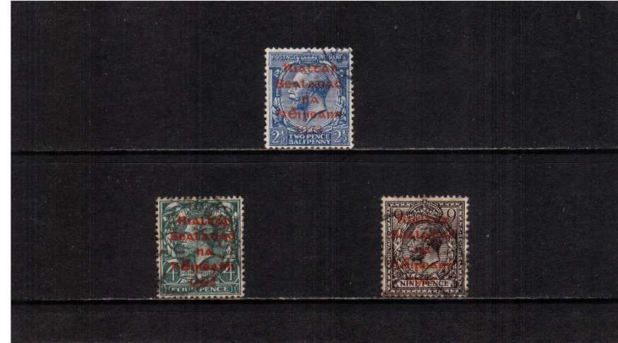 The ''DOLLARD'' set of three with RED overprint superb fine used.