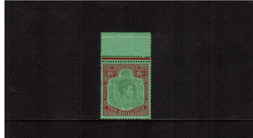 10/- Yellowish Green and Deep Carmine Red on Green - Ordinary Paper.<br/>