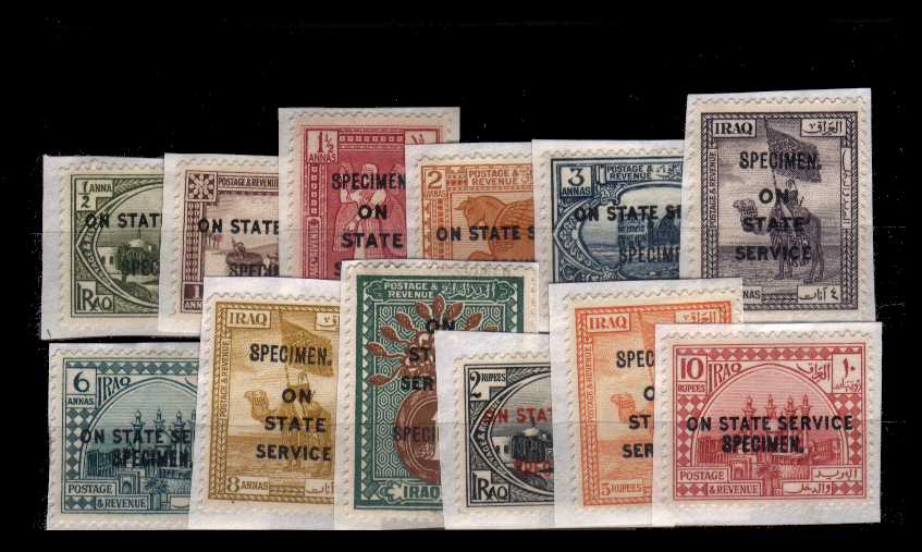 The Officials set of twelve each handstamped ''SPECIMEN''.<br/>Each stamp is glued to a small piece, thus possibly removed from the archives. SG Cat �0.00 