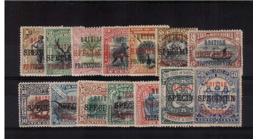A good lightly mounted mint set of fourteen overprinted ''SPECIMEN''. The 1c has no gum, mentioned for accuracy, all other have gum and there is the odd perforation fault as is quite normal for this set. A rare set! SG Catalogue �5.00<br/><b>AQG</b>