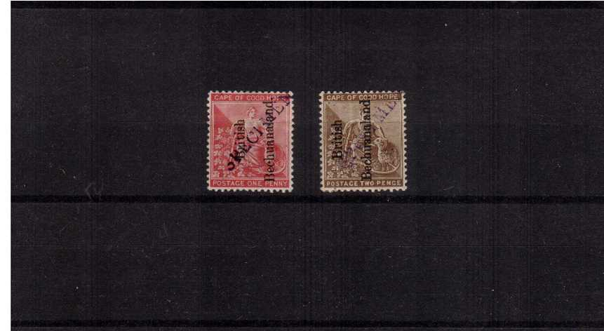 The BRITISH BECHUANALAND overprint set of two<br/>diagonally handstamped ''SPECIMEN''.