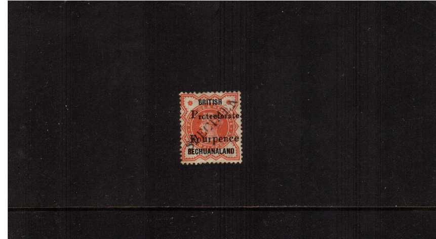 4d handstamped on ½d Great Britain Vermilion overprinted BRITISH BECHUANALAND and PROTECTORATE then diagonally handstamped ''SPECIMEN'' good mounted mint.