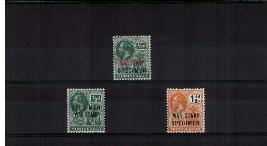 The WAR TAX set of three each overprinted ''SPECIMEN'' lightly mounted mint. 