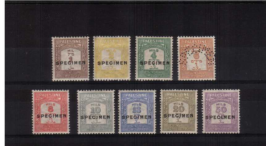 Postage Due ''SPECIMEN'' set of nine lightly mounted mint. Note eights stamps are overprinted and one is perfined ''SPECIMEN'' SG Catalogue �0.00