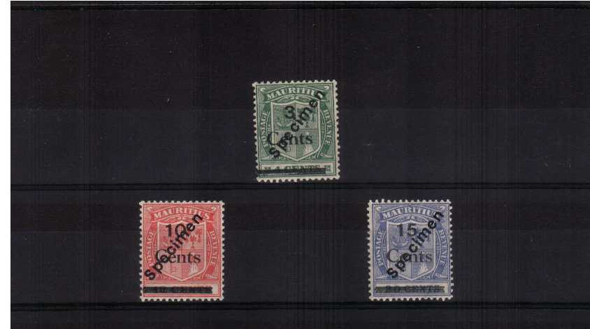 A fine lighlt mounted mint surcharged set of three with ''SPECIMEN'' handstamp on each. 