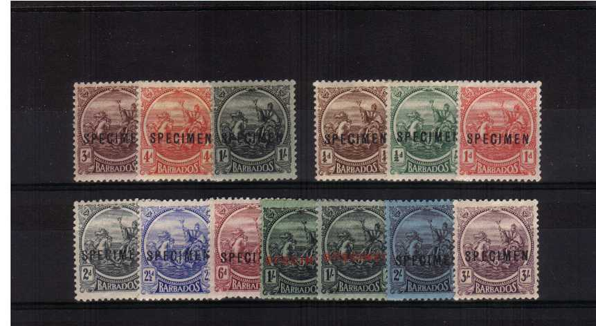 The 'Seal of the Colony' set of twelve plus bonus 1/- Multiple Script watermark shade all overprinted ''SPECIMEN'' a fine set.
