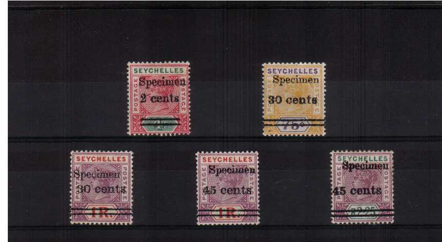 a fine lightly mounted mint set of five overprinted ''SPECIMEN''. Nice bright colours!