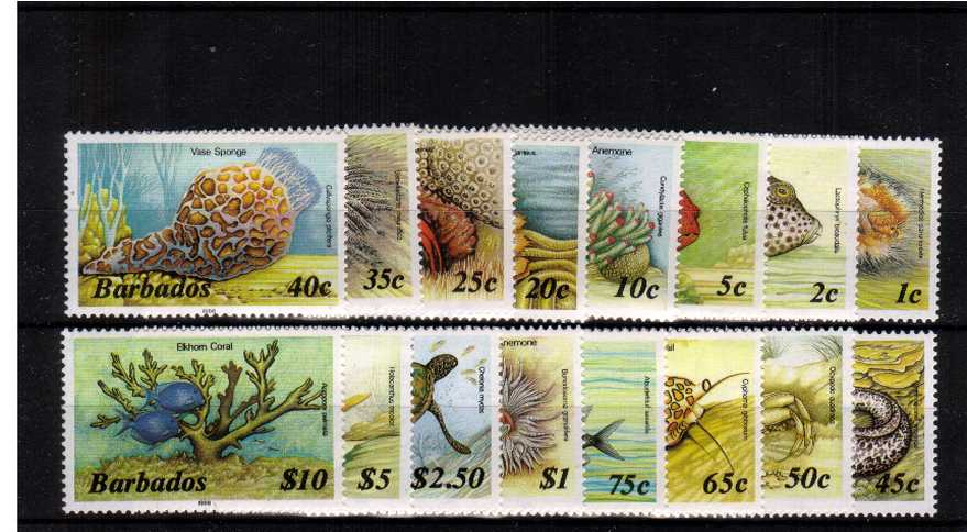 Marine Life set of sixteen - with imprint date 1987 watermark sideways superb unmounted mint.