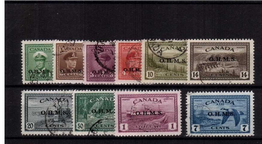 The O.H.M.S. official overprint set of ten superb fine used.
