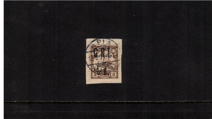 絛 G.R.I. overprint on 3pf Brown showing 1 to left of 2 variety.<br/>A superb fine used stamp tied to a small piece.