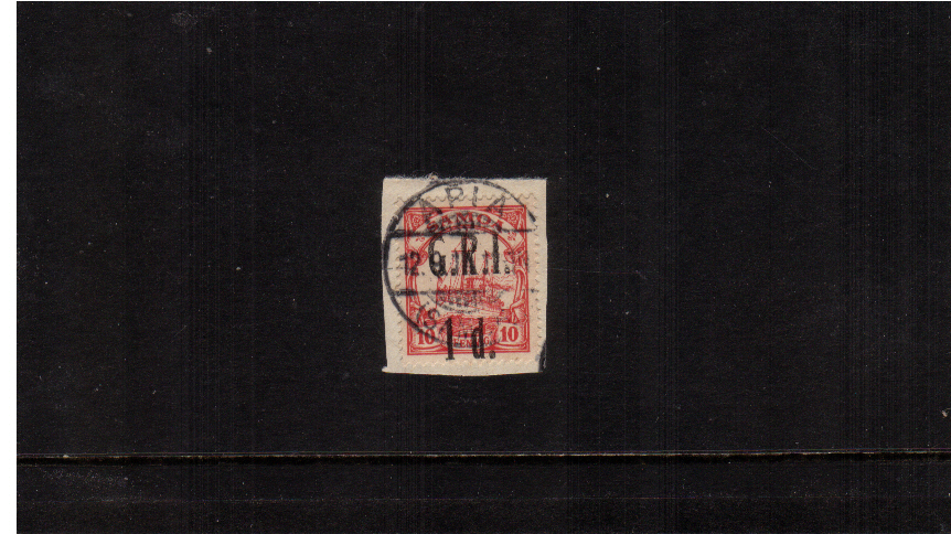 1d G.R.I. overprint on 10pf Carmine<br/>A superb fine used stamp tied to a small piece.