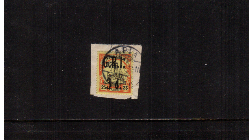 3d G.R.I. overprint on 25pf Black and Red on Yellow<br/>A superb fine used stamp tied to a small piece.