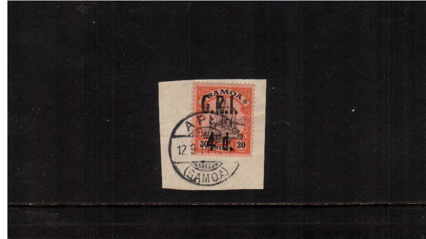4d G.R.I. overprint on 30pf Black and Orangeon Buff<br/>A superb fine used stamp tied to a small piece.