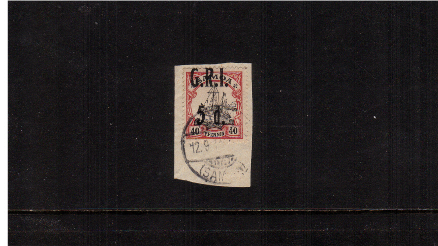 5d G.R.I. overprint on 40pf Black and Carmine<br/>A superb fine used stamp tied to a small piece.
