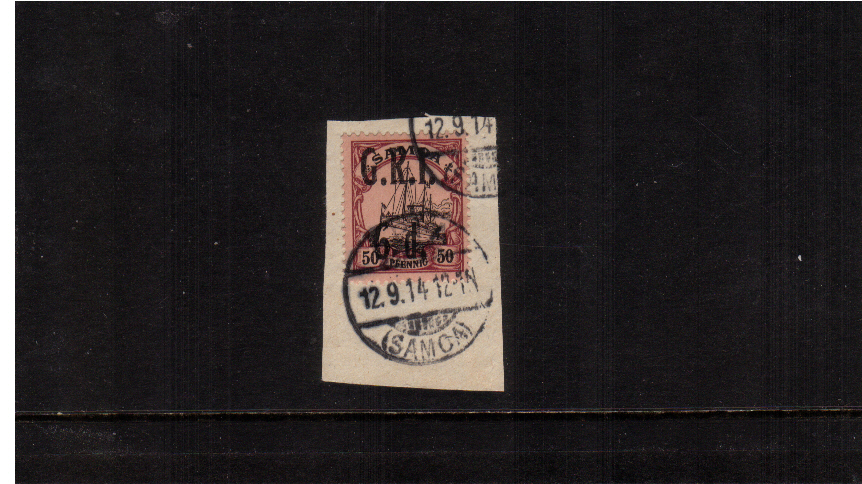 6d G.R.I. overprint on 50pf Black and Purple on Buff <br/>A superb fine used stamp tied to a small piece.