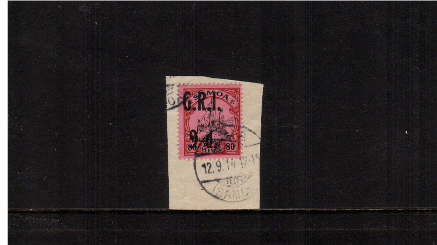 9d G.R.I. overprint on 80pf Black and Carmine on Rose<br/>A superb fine used stamp tied to a small piece.