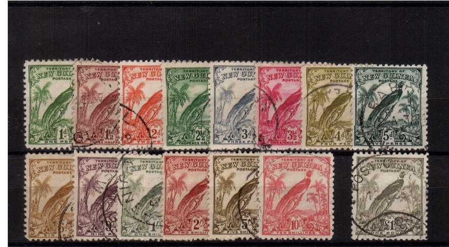 The ''Bird of Paradise'' set of fifteen with redrawn dates superb fine used.
