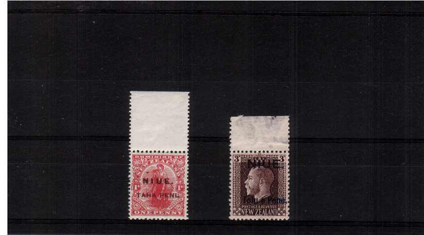 A superb unmounted mint top marginal set of two. Rare unmounted!
