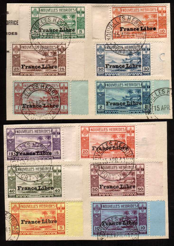 The Adherence to General de Gaulle overprint set of twelve superb fine used tied to two pieces cancelled with a double ring CDS dated 15 APR 41 - the first day of issue. 