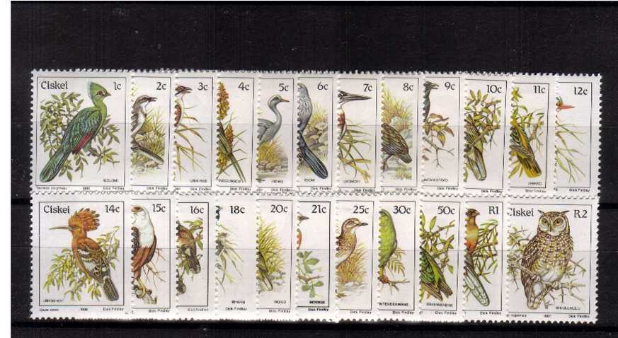 The Birds complete set of twenty three including all later stamps superb unmounted mint.