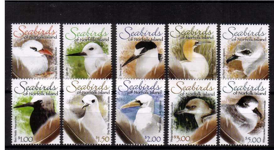 The Seabirds of Norfolk Islands set of ten superb unmounted mint.<br/><b>UEU</b>