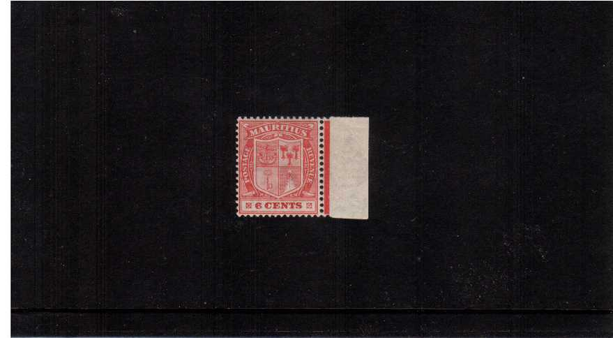 The 6c Carmine with Multiple Script watermark.<br/>A superb unmounted mint marginal single clearly showing the variety WATERMARK REVERSED. Superb! 