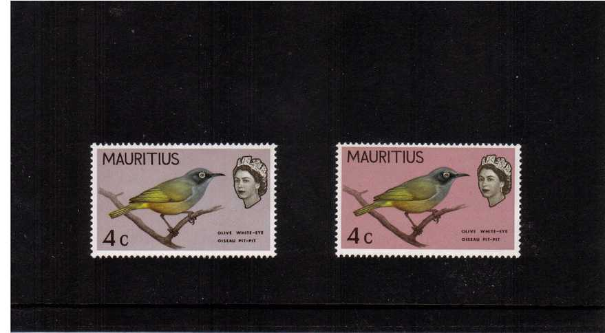 The 4c definitive single superb unmounted mint showing the error MAUVE-PINK OMITTED (stamp at left) with normal for comparison. The error results in the entire background wash being a different colour with the other colours unaffected.