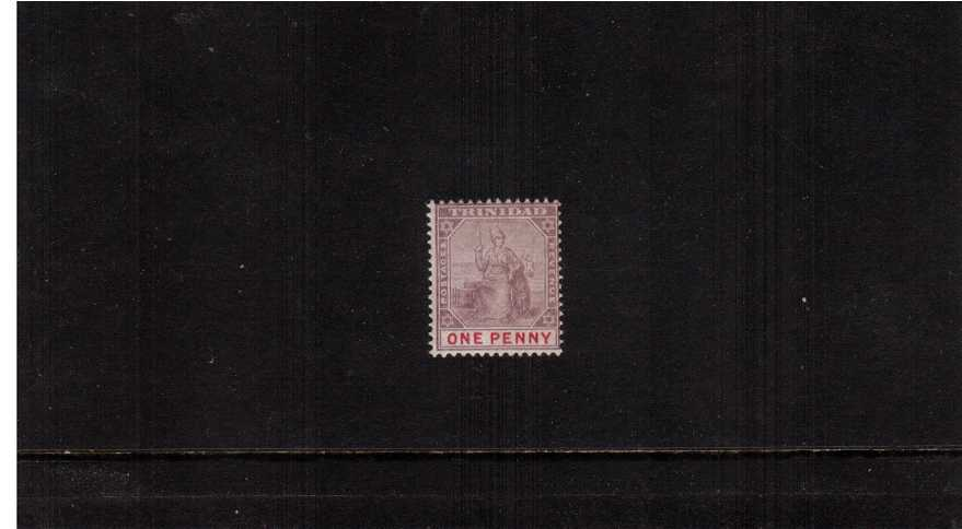 The TYPE II 1d Dull Purple and Rose. A good, lightly mounted mint example of this rare stamp showing the oval ''O'' of ''ONE PENNY'.'