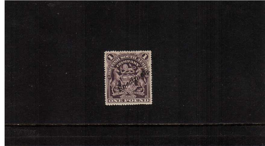 The £1 Greyish Red-Purple very lightly mounted mint hand stamped ''SPECIMEN''