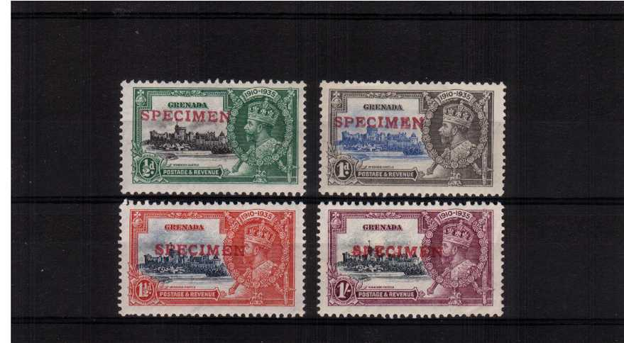 The Silver Jubilee set of four lightly mounted mint firmly handstamped in Red ''SPECIMEN''. Pretty and unusual.