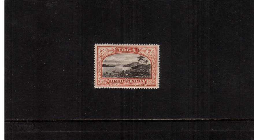 5/- Black and Brown-Red. A superb unmounted mint stamp.
