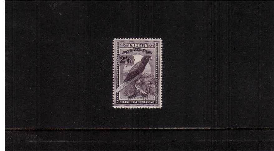 2/6d Deep Purple showing the Red Shining Parrot bird