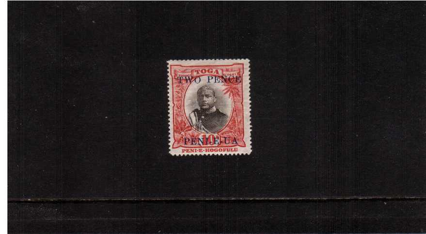 2d on 10d Black and Lake lightly mounted mint.