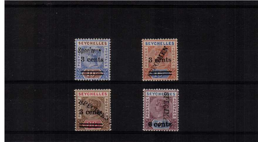 The surcharge set of four handstamped ''SPECIMEN'' lightly mounted mint.