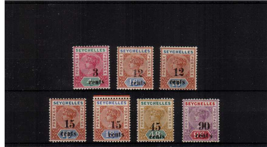 The locally surcharged set of seven fine very lightly mounted mint. A bright and very fresh set!