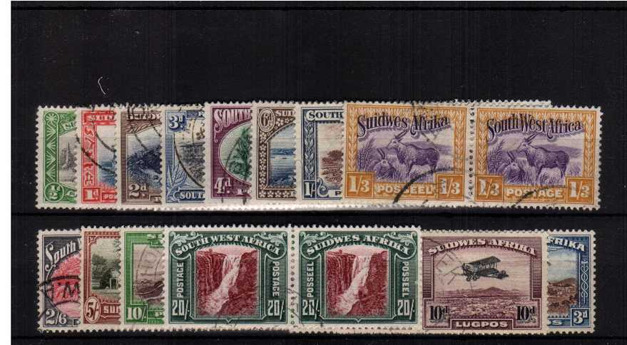 A superb very fine used set of fourteen pairs including the airmails.<br/>An exceptional set with no folded or weak perforations.