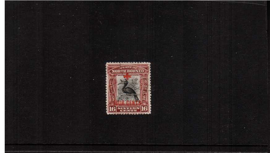 16c overprinted 'FOUR CENTS'' with CDS cancel showing a Horbill bird superb fine used.