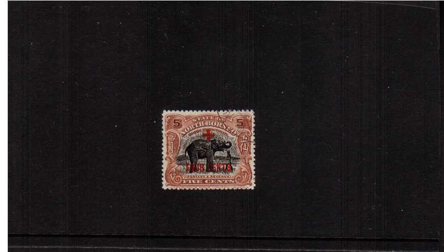 5c Indian Elephant single overprinted 'FOUR CENTS'' with CDS cancel.