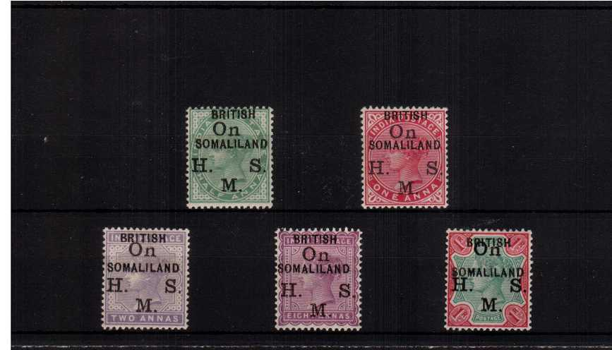 The ''BRITISH SOMALILAND'' overprint set of five on<br/>the ''On H. M. S.'' India set lightly mounted mint. 
