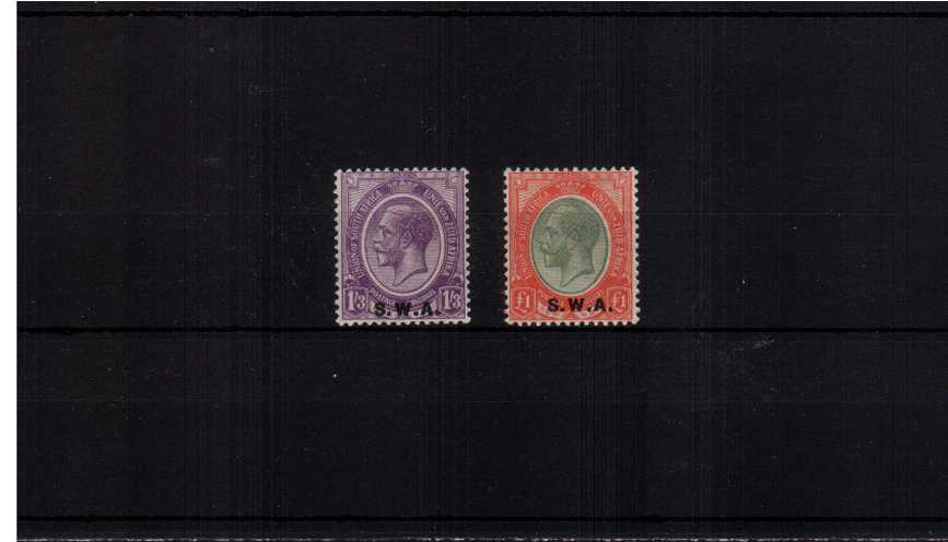 The S.W.A. overprint complete set of two very lightly mounted mint.