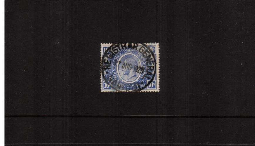 10/- Bright Blue. A good used single cancelled with a ''socked on the nose'' <br/>fiscal cancel for REGISTRAR GENERAL office dated 17 AUG 1929