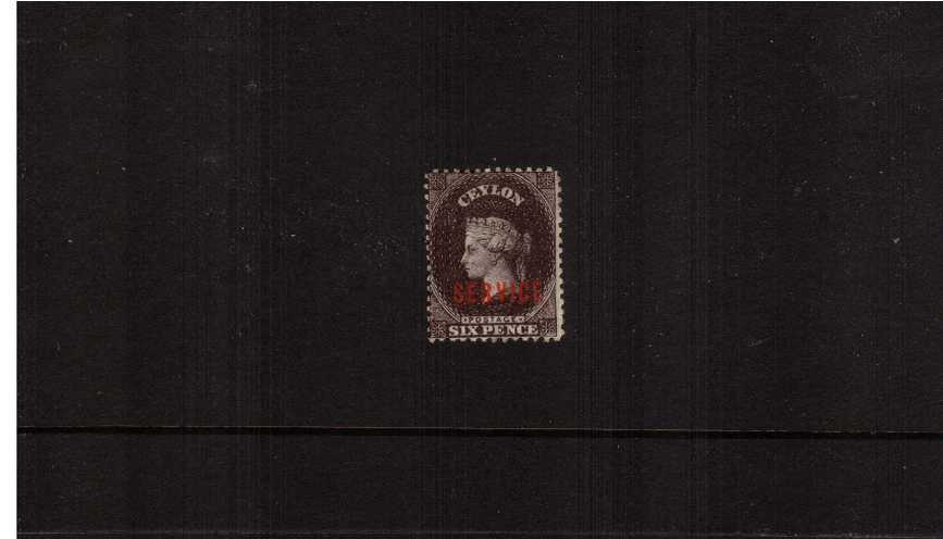 The 6d Deep Brown overprinted ''SERVICE'' in bright Red<br/>unused with some gum. Very fresh looking though.